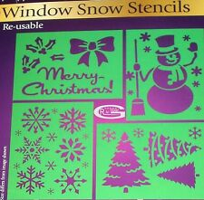Snow Merry Christmas Tree Window Stencils Assorted Designs spray A4 Re-usable