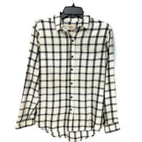 Marine Layer Hallie Button Down Top Small Off White Windowpane Plaid Long Sleeve