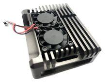 Aluminio Carcasa con 2 Ventilador para Raspberry Pi 4 Gris Titanio Funda