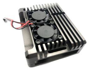 Aluminium Gehäuse mit 2 Lüftern für Raspberry Pi 4 titangrau Case