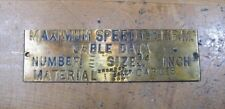 Old Brass Industrial ELEVATOR Plaque Sign Maximum Speed 150 FPM Cable Data