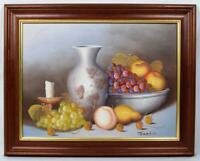 Original Art Oil Painting Still Life c1970s Signed