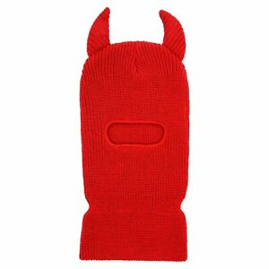 Prolific Unisex Red 100% Acrylic Horns Ski Mask One Size Fits All