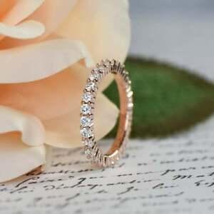 1.00 CT Round Diamond Full Eternity Engagement Wedding Band 14K Rose Gold Finish
