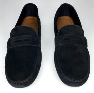 Gucci Black Suede Web Driver Size 10.5 11.5 Leather Loafer Shoes Slip On 566294