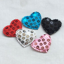 50pcs Padded Felt Heart Sequin Appliques Craft Kid's Doll Lots Mix