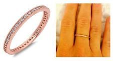 Dainty Rose Gold CZ Milgrain Eternity Bridal Stackable Wedding Ring Band Size 7