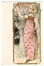 POSTCARD ART NOUVEAU WOMAN IN PINK DRESS WITH GOLD EMBOSSING