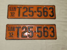 1932 License Plates Kansas Matching Front and Back Pair T25-563 Good Cond.