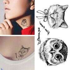 2x Owl Tattoo 3d Waterproof Body Art Arm Hand Cat temporary Tatoo Stickers Hot!