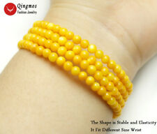 4-5mm Round Yellow Shell Pearl Steel Wire Wrap Bracelet for Women Fine Jewelry