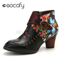 SOCOFY Women Cowgirls Leather Ankle Boots Elegant Stitching Painted Block Shoes