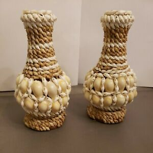 """Two Shell Covered wood turned Vases Handmade 6.5"""" x 4 wide. Beach shell decor"""