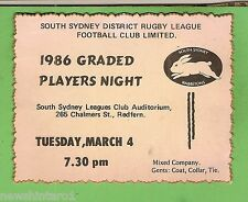 #D230. 1986  SOUTH SYDNEY  RABBITOHS  RUGBY LEAGUE PLAYERS NIGHT TICKET