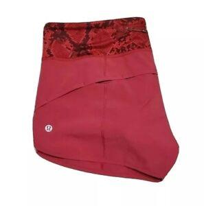 Lululemon Size 6 Run Speed Short Mini Ziggy Snake Red Tide Cranberry Yoga Shorts