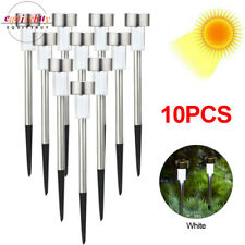 10PCS Solar Stake Lights White LED Outdoor Garden Landscape Lawn Lamp Pathway