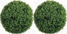 """2 ARTIFICIAL 16"""" BOXWOOD BALL TOPIARY IN OUTDOOR UV PLANT BUSH 7 SIZES 15 PORCH"""