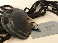 TED BAKER Brown suede Leather Shell Belt M/L NEW