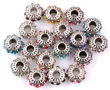 50pcs Mix silver CZ big hole spacer beads fit Charm European Bracelet DIY AB914