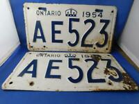 ONTARIO LICENSE PLATE 1954 LOT SET AE 523 LOW 3 # VINTAGE CANADA CLASSIC CROWN
