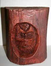 "Hand carved  Wood OWL 6""x 7"" 91216"
