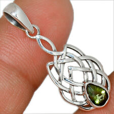 Celtic - Faceted Moldavite 925 Sterling Silver Pendant Jewelry AP162484
