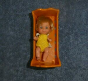 Vintage Mattel Sunshine Family Baby Doll and Cradle