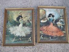 Lotto di 2 antichi cornice in legno dipinto vintage cornice opere