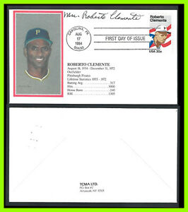 ROBERTO CLEMENTE: 1984 - First Day Cover - TCMA cachet signed by Mrs. Clemente