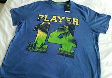 "Men's TShirt, ""Player 14"" Logo, Blue, 3XL. Tee shirt. F&F UK.Plus Size"