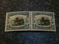 SOUTH AFRICA POSTAGE STAMP SG64 5/- PAIR VERY LIGHTLY MOUNTED MINT