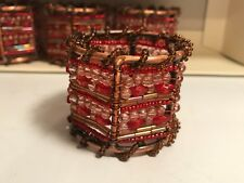 Pier One Moroccan Beaded Napkin Rings Set of 4 Maroon Bronze Table Decor