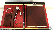 Eaton Leather & Stainless 6oz Hip Flask,Funnel,Pen,Key fob,Multi tool & Gift Box