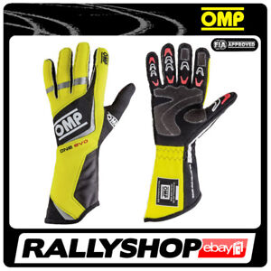 FIA OMP One Evo RACE Karthandschuh Handschuhe Professionell NOMEX gelb