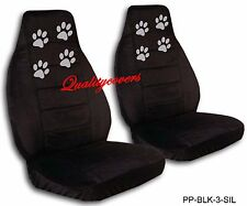 2007 Pontiac G5 Seat Covers Black with Silver Paw Prints Swc and Sbc Included