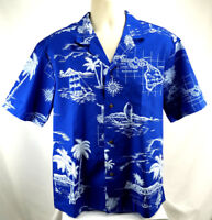 Royal Creations Mens L SS Hawaiian Shirt, Preowned. Royal Blue w/ White Print