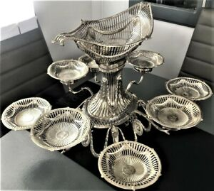 A Rare & Impressive Irish George III Silver 9 basket Epergne. Dublin c1779