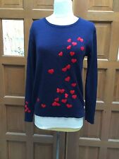 Vtg LeRoy Sz M Navy Blue Acrylic Sweater Embroidered Red Hearts