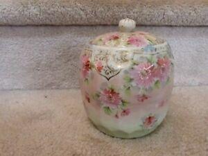 """GORGEOUS ANTIQUE Biscuit Jar Handpainted Flowers Enamel Details 6.25"""""""