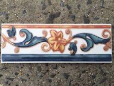 White Blue & Orange Flower Border & Listello Trim Tile / Accent Tiles / Border