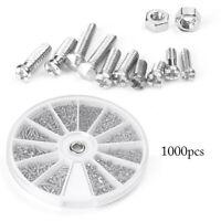 1000pcs/set 12 Small Screws Nuts Assortment Kit M1 M1.2 M1.4 M1.6 Practical Tool