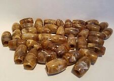 Lot of 40 Brown Marble Plastic Oval Oblong Macrame Plant Hanger Craft Beads 32mm