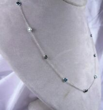 24 in 5.98CT 15 Genuine Blue Green Diamonds by the Yard Necklace 14K White Gold