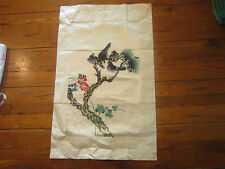 Vintage Chi Wen Silk weaving Co. Hong Kong embroidery panel, tapestry