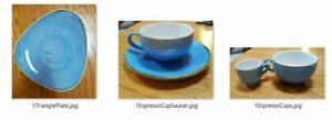 Churchill Stonecast Cornflower Blue 5 Pieces - cups, saucer, triangle plate