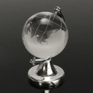Small 4cm Crystal Glass Rotating Clear Transparent World Globe Desk Home Office
