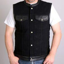 Black Denim and Leather Vest Sleeveless Jacket