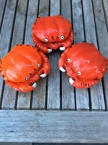 Ceramic red crab covered bowls butter dish set of 3 Brazil