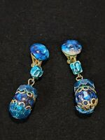 Vintage Gold Tone Blue Acrylic Swirl Bead Drop Dangle Clip Earrings 10509