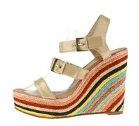 Kate Spade NY Multicolored Patent Leather Ankle Strap High Wedge Sandals Size 10